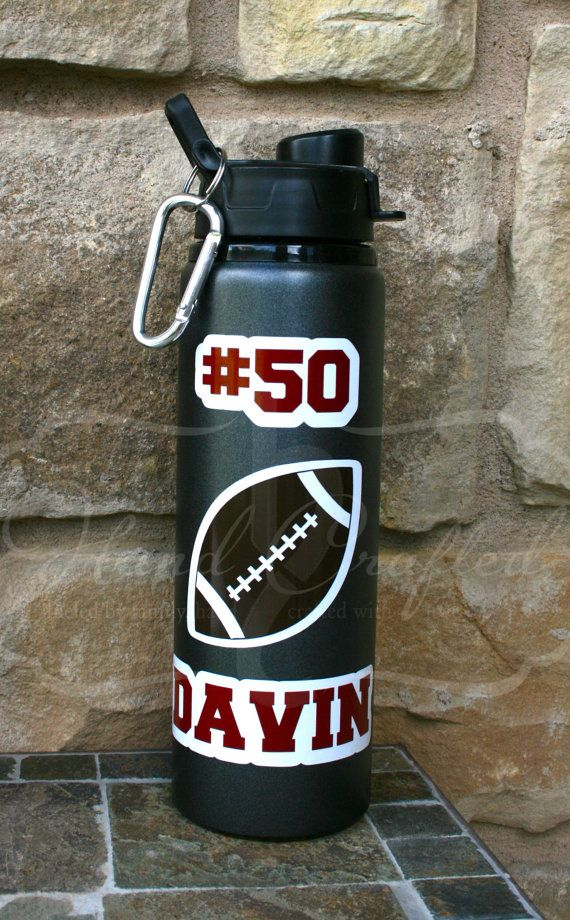 CUSTOM Football Water Bottle by HandCraftedHC on Etsy, $16.00