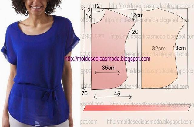 SEQUÊNCIA OPERATÓRIA DE CORTE E COSTURA 1. Corte um retângulo de tecido com a altura e largura que pretende para as costas e frentes.2. Dobre a meio o retângulo.3. Desenhe o decote, com a largura que