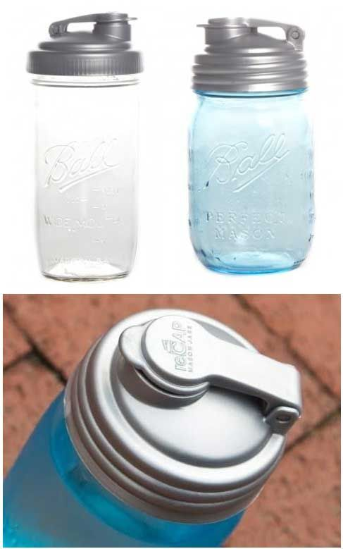 Shake, pour, and store, reCAP turns the classic mason jar into a spill-proof water bottle, salad dressing dispenser, cereal container, candy jar, and more.