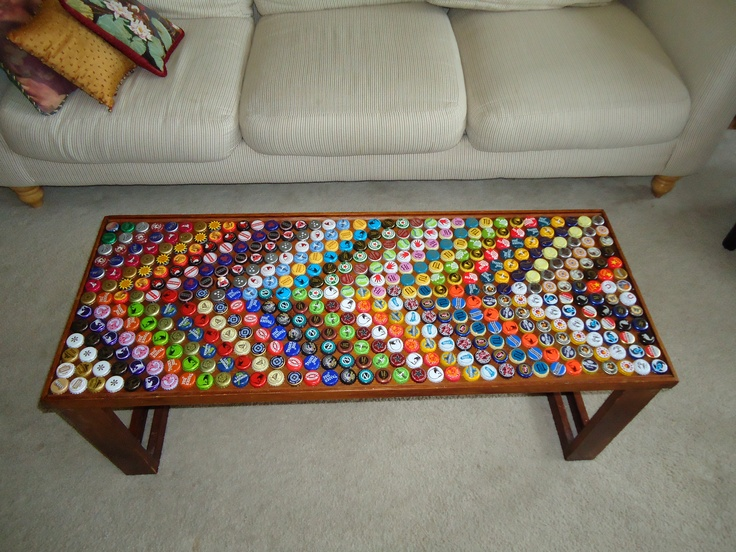 First coffee table from a packing crate around 300 caps