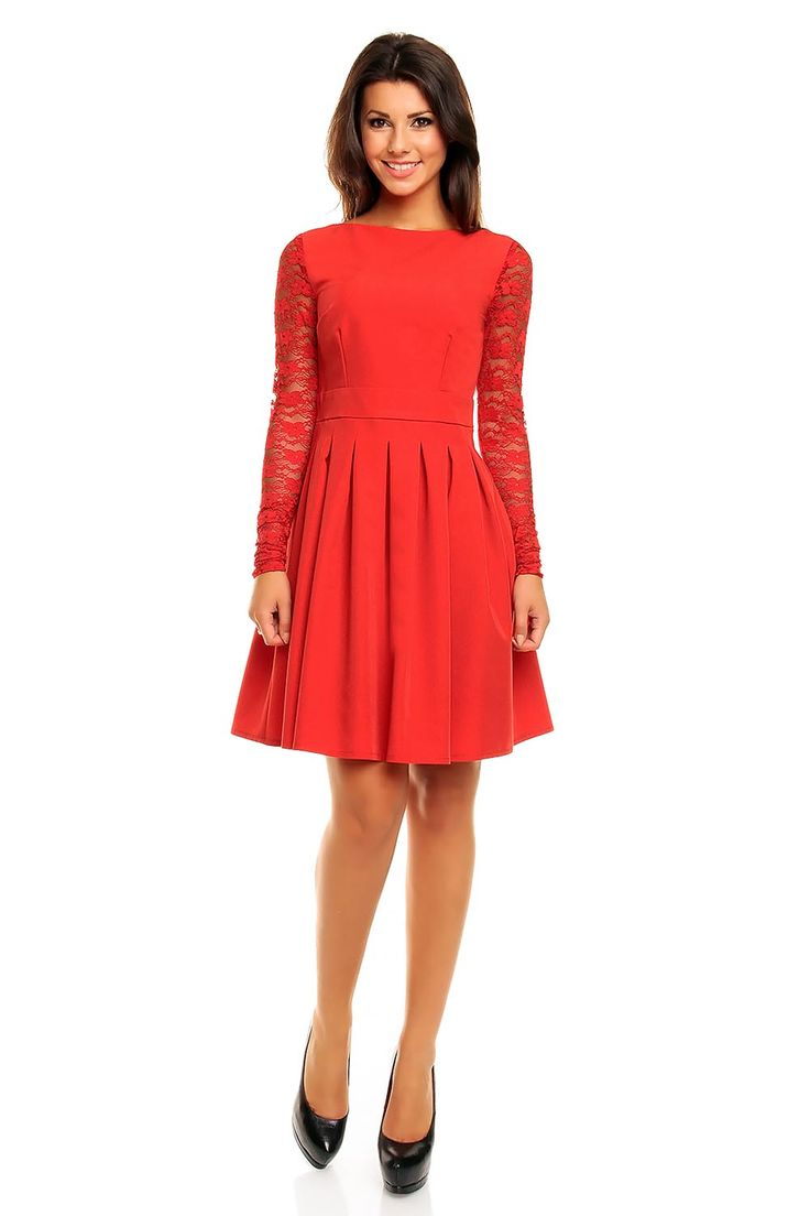 Red Sabrina Collar Lacey Pleat Dress