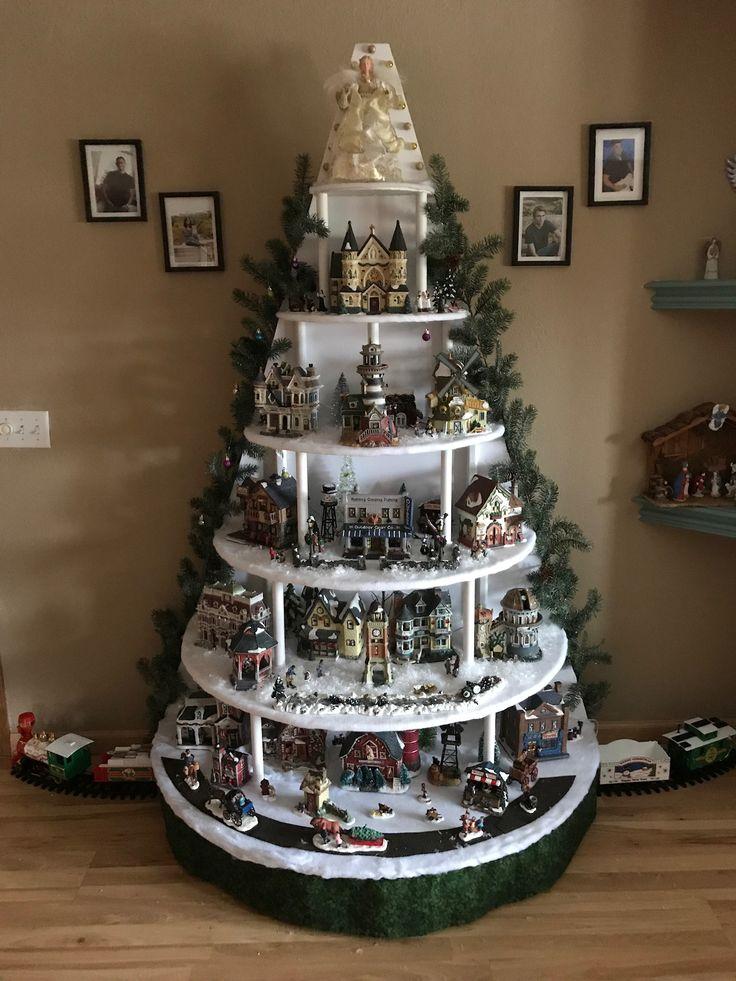 Christmas tree shaped Christmas village display   Christmas tree village, Diy christmas village ...