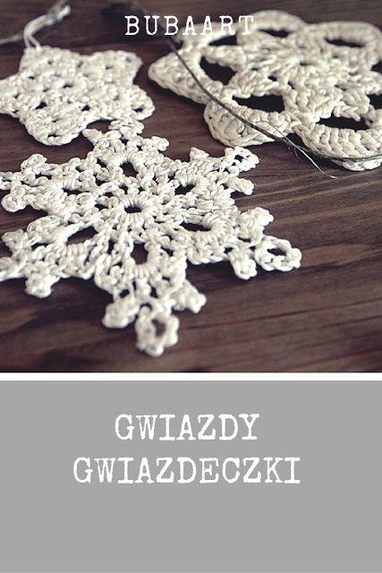 bubaart : Gwiazdy gwiazdeczki  szydełko, schemat, święta Bożego Narodzenia, Crochet Snowflakes Pattern