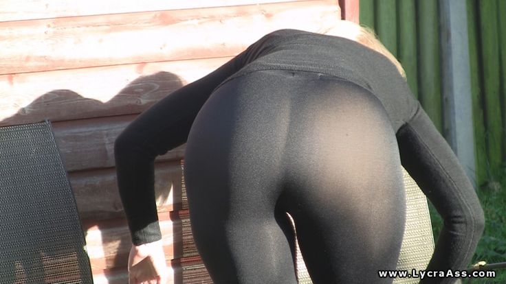 Sexy Ass In Shiny See Through Lycra Leggings Outdoors -4610