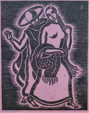Colección Blaisten Fondo Díaz de León Justino Fernández (1904 - 1972)  La hora del mando , 1928  Grabado, madera de hilo Imagen: 25.1x20.1 cm.