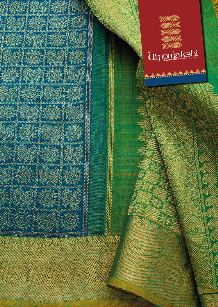 Every woman should have at least one saree that is intrinsic to her identity. This sapphire blue and apple green saree is an appealing nominee. The chakra and bird pattern on the body pairs with mango, bird and floral zari designs on the pallu. Rolling waves borders ondelight.#Sareeoftheday#Silksaree#Kancheevaramsilksaree#Kanchipuramsilks#Ethinc#Indian #traditional #dress#wedding #silk#saree#craftsmanship #weaving#Chennai #boutique#vibrant#exquisit #pure #weddingsaree#sareedesign#colorful…