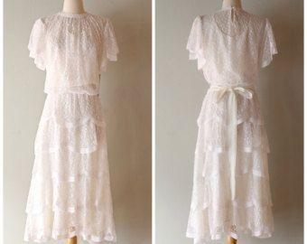 1920 年代のヴィンテージのウェディング ドレス ビンテージ 1980 年代は 20 by xtabayvintage
