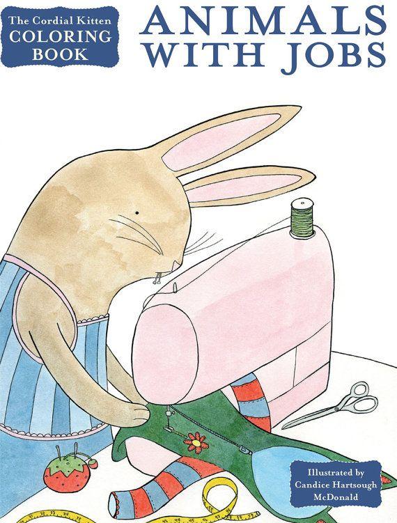 Cordial Kitten Coloring Book Animals With Jobs от cordialkitten