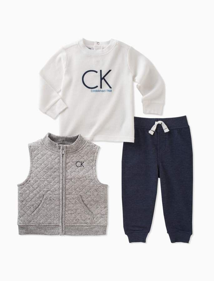 Calvin Klein Baby Boys 3 Piece Quilted Vest Logo Shirt Jogger Set Boys Winter Clothes Boy Outfits Kids Outfits