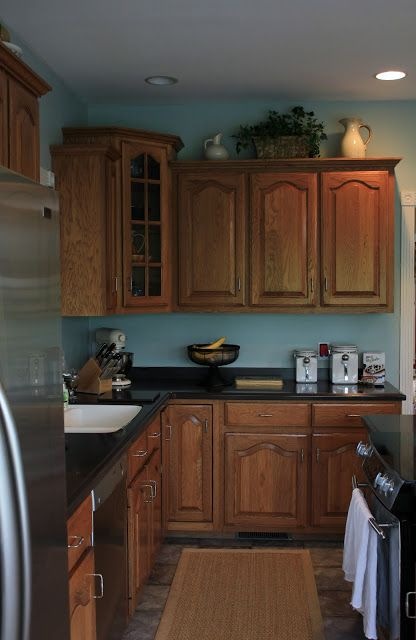 blue kitchen cabinets ideas 1000 images about kitchen honey oak cabinets and wall 12490