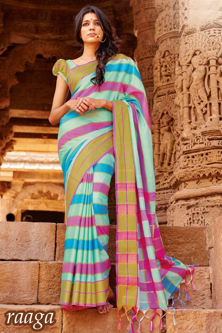 Online Shopping of Casual Printed Sky Blue Cotton Saree-Raaga from SareesBazaar, leading online ethnic clothing store  offering  latest collection of sarees, salwar suits, lehengas & kurtis