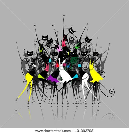 Cat woman party, vector illustration for your design
