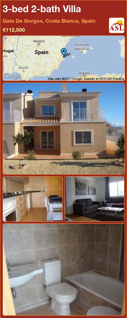 3-bed 2-bath Villa in Gata De Gorgos, Costa Blanca, Spain ►€112,500 #PropertyForSaleInSpain