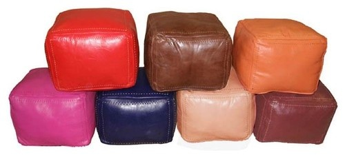 Wunderley Square Leather Pouf eclectic ottomans and cubes