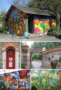 Christiania buildings in Copenhagen, Denmark. A self-governing society whereby each and every individual holds themselves responsible over the wellbeing of the entire community