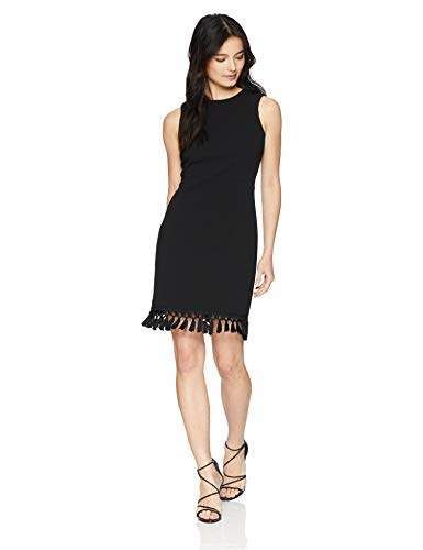 5a0fef2452 Calvin Klein Women's Petite Solid Sleeveless Sheath with Fringe Trim | a  little black dress for petites glammed up with fringe trimmed hem and round  ...
