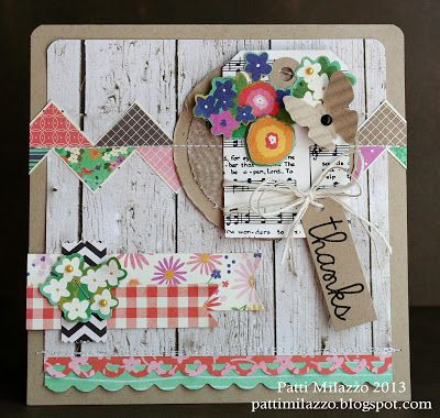 handcrafted collage card from {Crafting Life} ... gorgeous patterned papers ... whitewashed wood background on kraft ... chevron band made with trianlenes ... montages of elements cut from patterned paper ... sheet music ... fun eclectic look!!