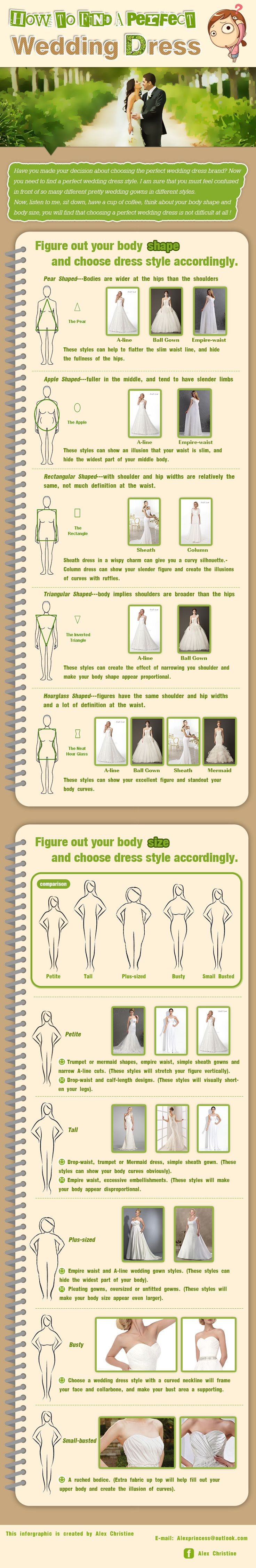 How To Find  A Perfect Wedding Dress?  In fact, choosing the perfect wedding dress style is very important, before I get married, i fell in love with so many different wedding dresses, and i want to wear them all.  It is really hard to make decision. Later, I find the secret to choose a perfect wedding dress style. You just need to figure out your body type and body shape, and choosing accordingly. You can have a try accordingly.
