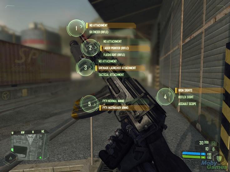 Crysis weapon upgrade interface