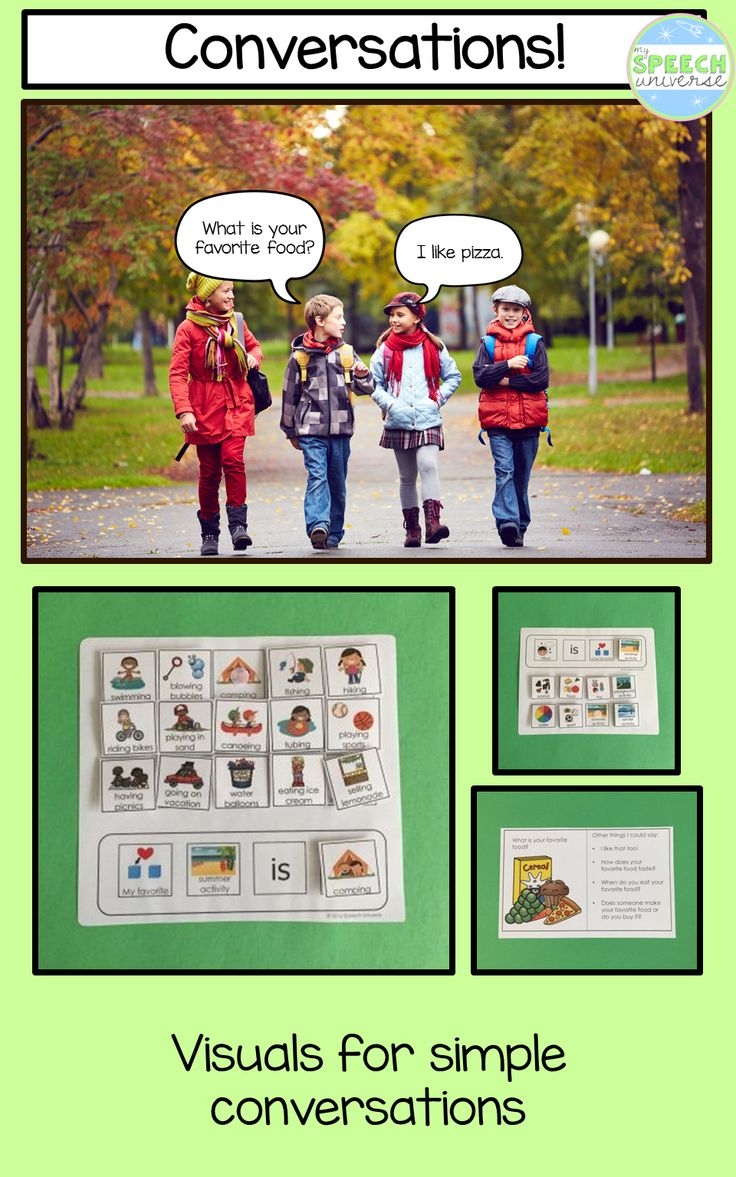 Sentence strips and visual icons to help increase conversation skills.