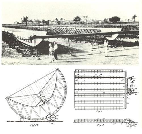 Solar Thermal Power Station:  Frank Shuman built the world's first solar thermal power station in Meadi, Egypt. Shuman's plant used parabolic troughs to power a 60-70 horsepower engine, which pumped 6,000 gallons of water per minute from the Nile River to adjacent cotton fields (1913).
