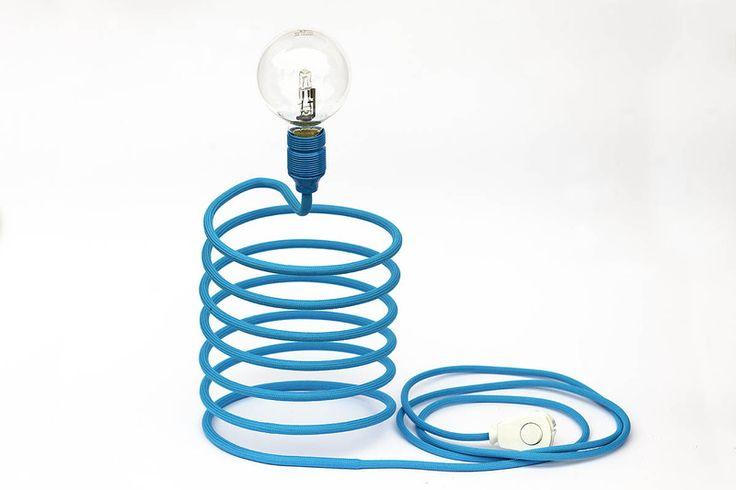 """Lampa """"sprężyna"""" - niebieska. w profizorka na DaWanda.com"""