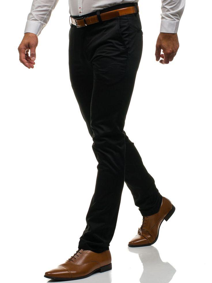 Spodnie chinosy męskie czarne Denley 0204
