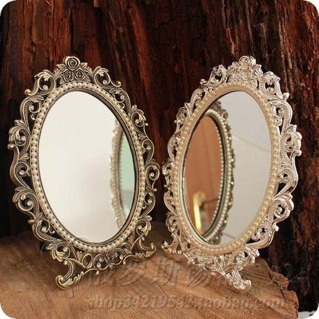 Russe bleu étain ovale bronze miroir de table bureau double face miroir argent rose princesse miroir de courtoisie sous