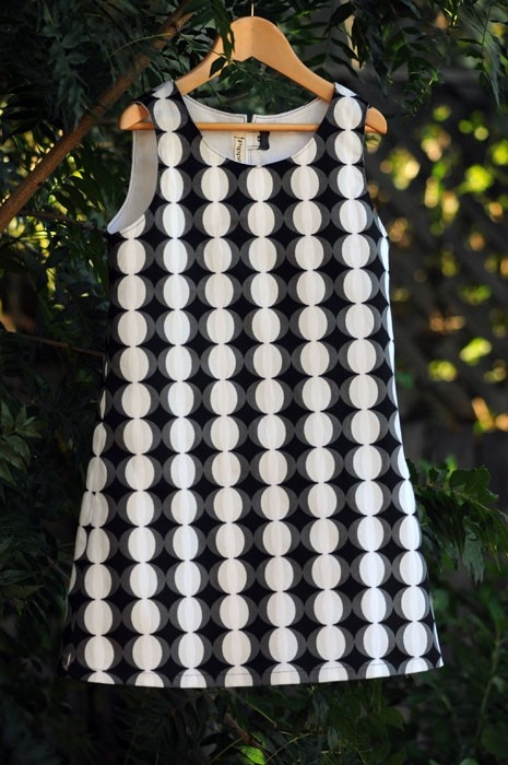 Black and White Cat's Eyes dress for a 6 year old little girl