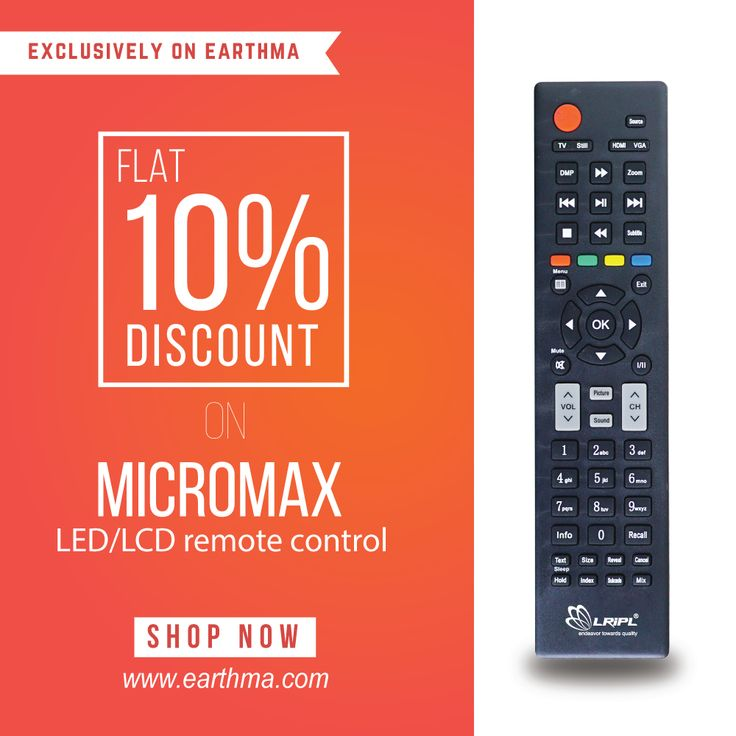 Get flat 10 discount on micromax ledlcd remote