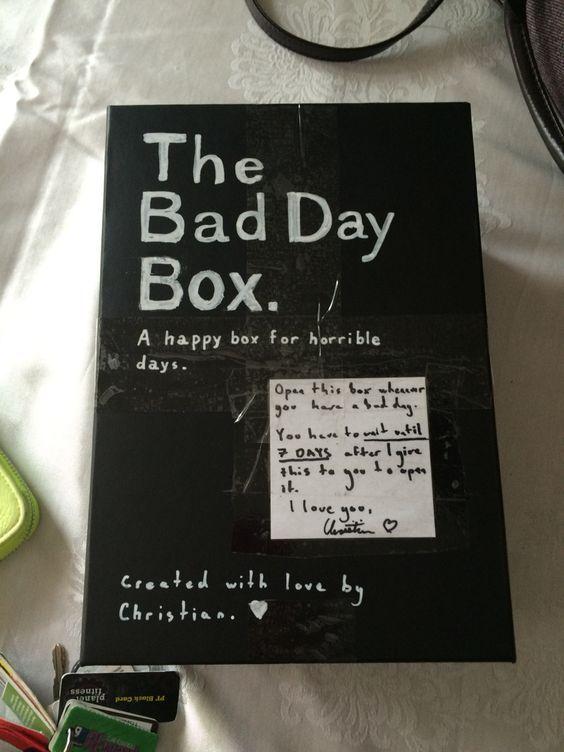 Bad Day Box   Christmas Gifts for Boyfriend DIY Cute - 15 DIY Christmas Gift Ideas For Boyfriend Christmas Pinterest
