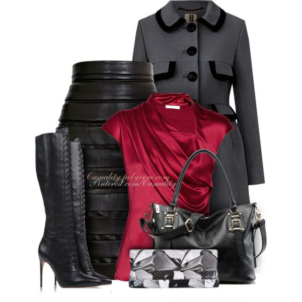 """""""Crepe Coat & Bandage Leather Skirt"""" by casuality on Polyvore"""