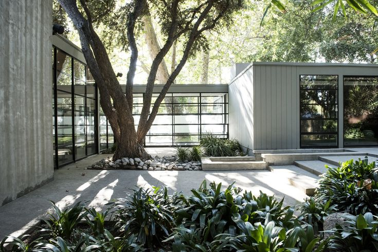 Designed by Case Study architect Thornton Abell, the Siskin House in Brentwood, Los Angeles, is an International Style stunner of glass, steel, and concrete.
