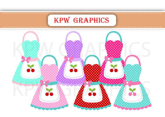 Colorful Kitchen Aprons PNG Personal & Small by KPWgraphics