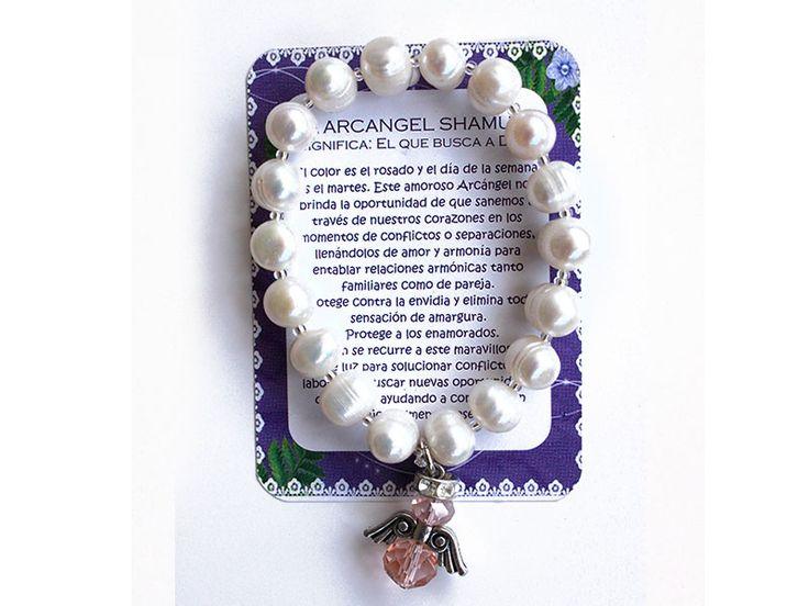 Pulsera Arcangel Shamuel perla grande Ref. 229