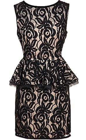 Spoiled Roses Dress: Features a fully lined sheer black shell adorned with vertically-blossoming roses, exposed short rear zipper, gorgeous peplum waist, and a perfectly-fitted silhouette to finish.
