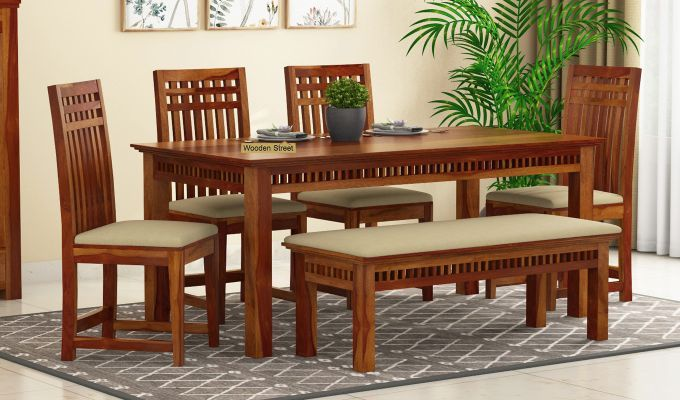 Buy Adolph 6 Seater Dining Set With Bench Honey Finish Online In India In 2020 Dining Table Design 6 Seater Dining Table Dining Set With Bench