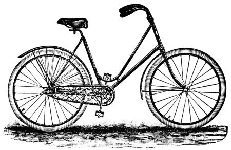 crescent bicycle magazine ad, old fashioned bike image, free vintage bicycle clip art, black and white bicycle graphics, antique bike illustration