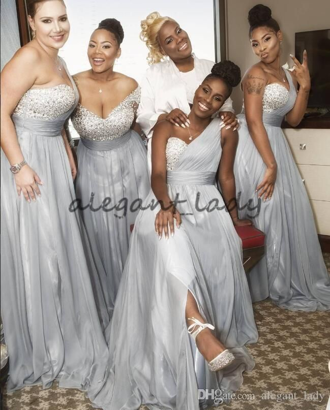 0f3813da2485 Silver Crystal Sexy African One-shoulder Bridesmaid Dresses 2018 Plus Size  Custom Make Junior Maid of Honor Wedding Guest Holiday Dress Overskirt  Evening ...