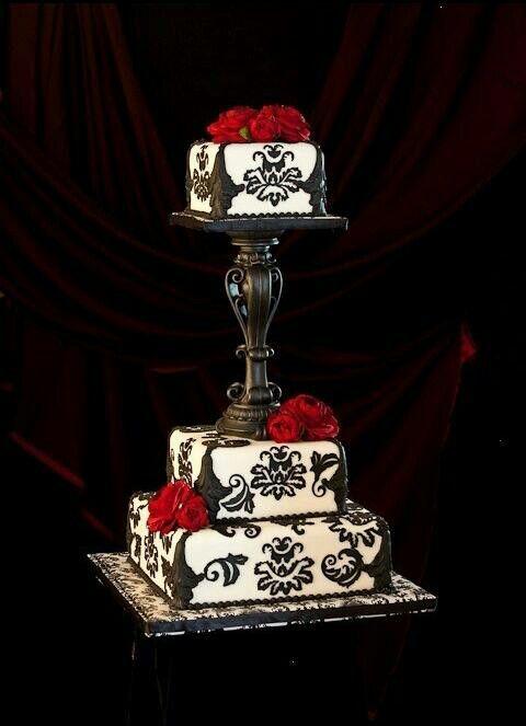 Black and white red rose cake