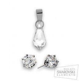 Pendientes en plata 925 y cristal Swarovski de 5,5 mm a juego con el colgante en forma de lágrima. Cristales con elementos Swarovski tallados y adaptados a diseños exclusivos y elegantes. Colgante Swarovski en forma de lágrima de 15 x 8 mm y plata 925, con cadena bañada también en plata. Un colgante de delicado diseño que alegrará cualquier complemento que le acompañe.