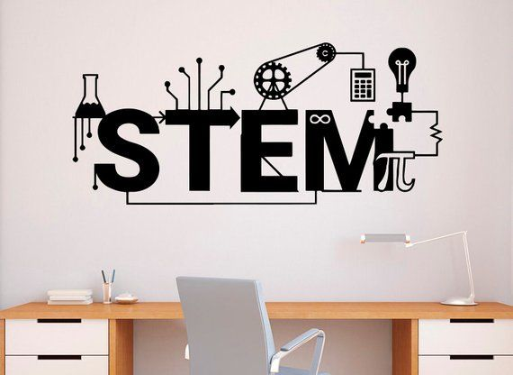 STEM Wall Decal Vinyl Sticker Science Technology Art Design School Classroom Interior (64nr)