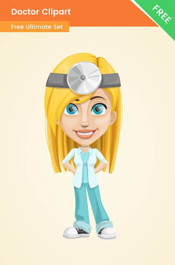 Doctor Clipart Png Character Made In A Modern Style This Blonde Doctor Girl Is The Perfect Addition To Medical And H Vector Character Clip Art Medical Symbols
