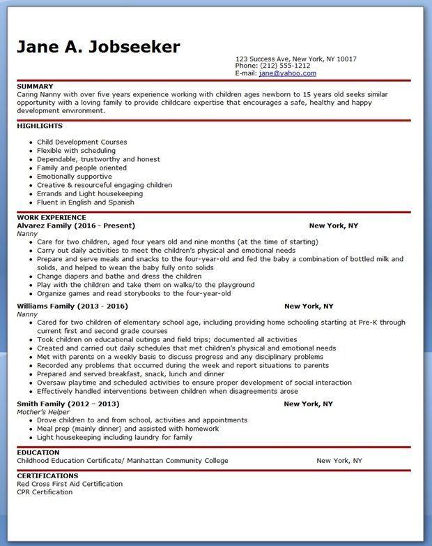 Resume For Nanny Job Resume Pinterest Resume Sample Resume