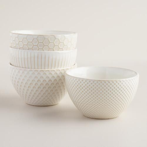 One of my favorite discoveries at WorldMarket.com: Small White Textured Stoneware Bowls Set of 4