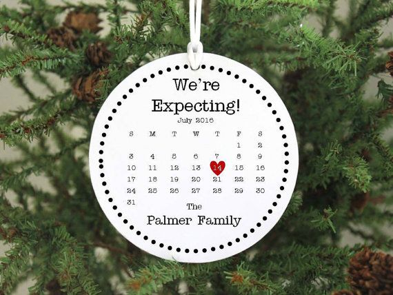 Expecting Ornament  We're Expecting Christmas Ornament Expecting Baby Ornament Pregnant Ornament Pregnancy Ornament with calendar IBFS