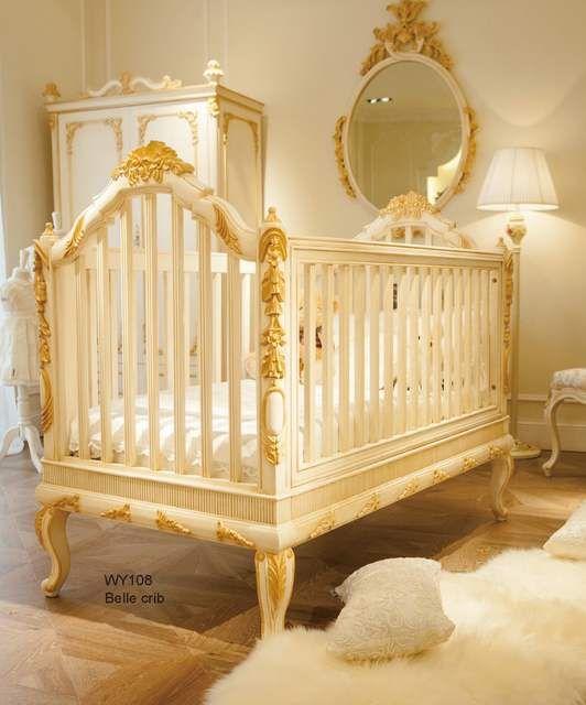 European Luxury White And Golden Wooden Crib Baby Cot German Beech Luxury Baby Crib Wooden Baby Crib Cribs