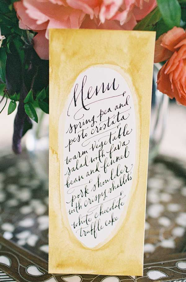 A relaxed watercolor menu. By Paper Tastebuds (Paperfinger).