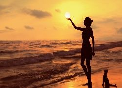 Zachód, Słońca, Księżyc, Morze, Plaża, Kobieta, Kot