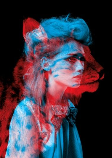 high contrast between the black background and the colour of the two overlaid images. Lion Vs Girl.